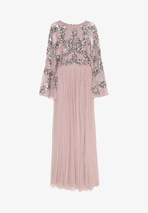CAPE SLEEVE MAXI DRESS WITH FLORAL EMBELLISHMENT - Galajurk - frosted pink