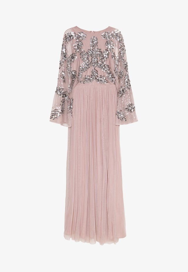 CAPE SLEEVE MAXI DRESS WITH FLORAL EMBELLISHMENT - Occasion wear - frosted pink
