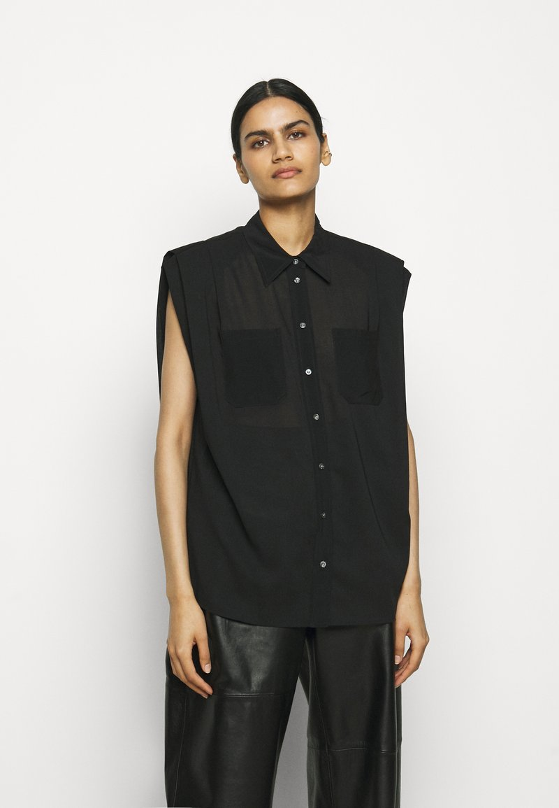 3.1 Phillip Lim - CAP SLEEVE BLOUSE - Button-down blouse - black