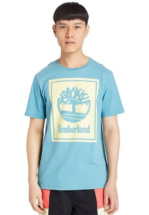 STACK - T-shirt print - adriatic blue/lumin green