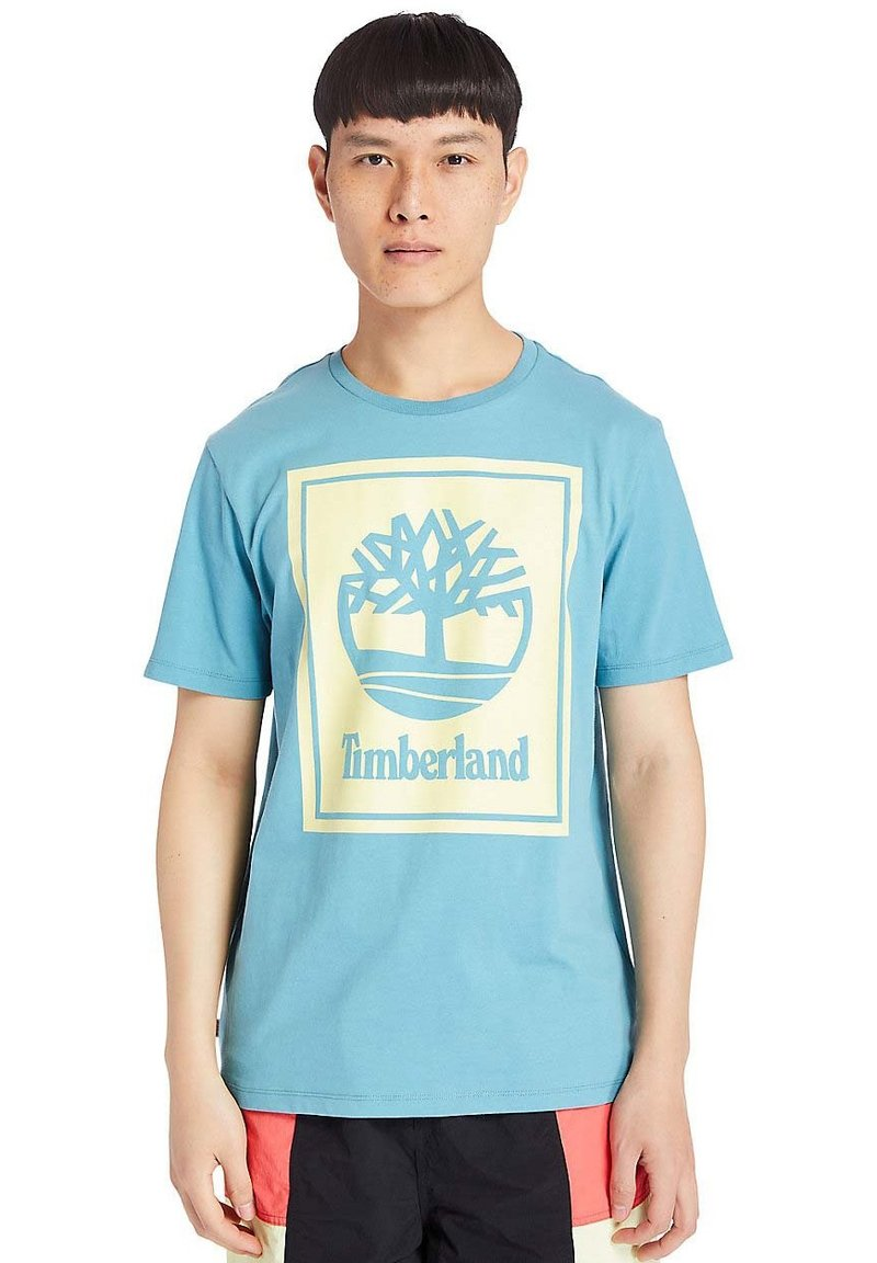 Timberland - STACK - Print T-shirt - adriatic blue/lumin green