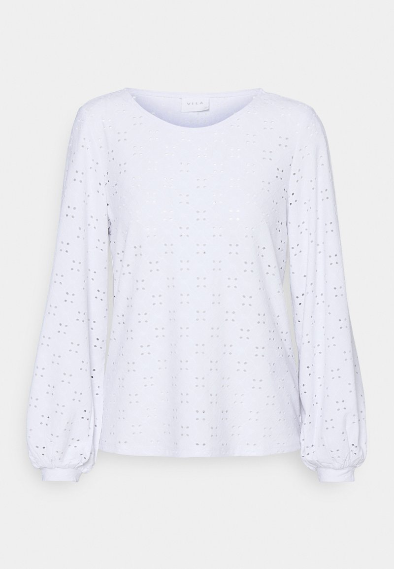 Vila - VITRESSY DETAIL ONECK - Long sleeved top - optical snow