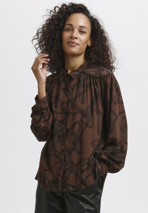 Button-down blouse - brown / black graphic