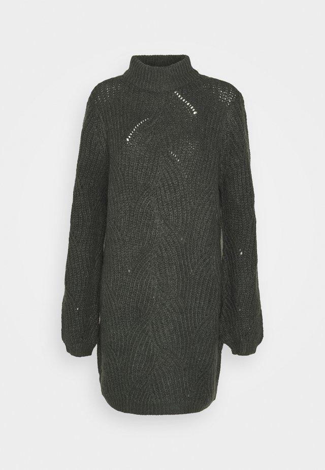 NMEDEN HIGH NECK DRESS  - Strikket kjole - dark grey melange