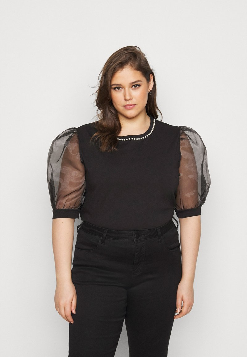 New Look Curves - PEARL TRIM ORGANZA TEE - T-shirt con stampa - black