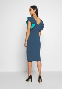 WAL G. - V NECK RUFFLE SLEEVE MIDI DRESS - Sukienka koktajlowa - teal - 2