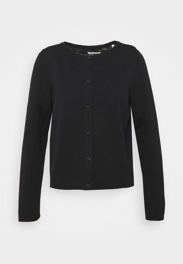 CARDIGAN LONGSLEEVE ASHAPE WITH STRUCTURE DETAILS AND BUTTON - Kardigan - dark atlantic