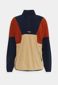 Fila - WAFA BLOCKED HALF ZIP - Bluza z polaru - irish cream/black iris/cinnamon stick - 0