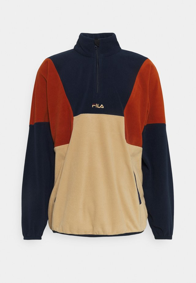 WAFA BLOCKED HALF ZIP - Fleecetröja - irish cream/black iris/cinnamon stick