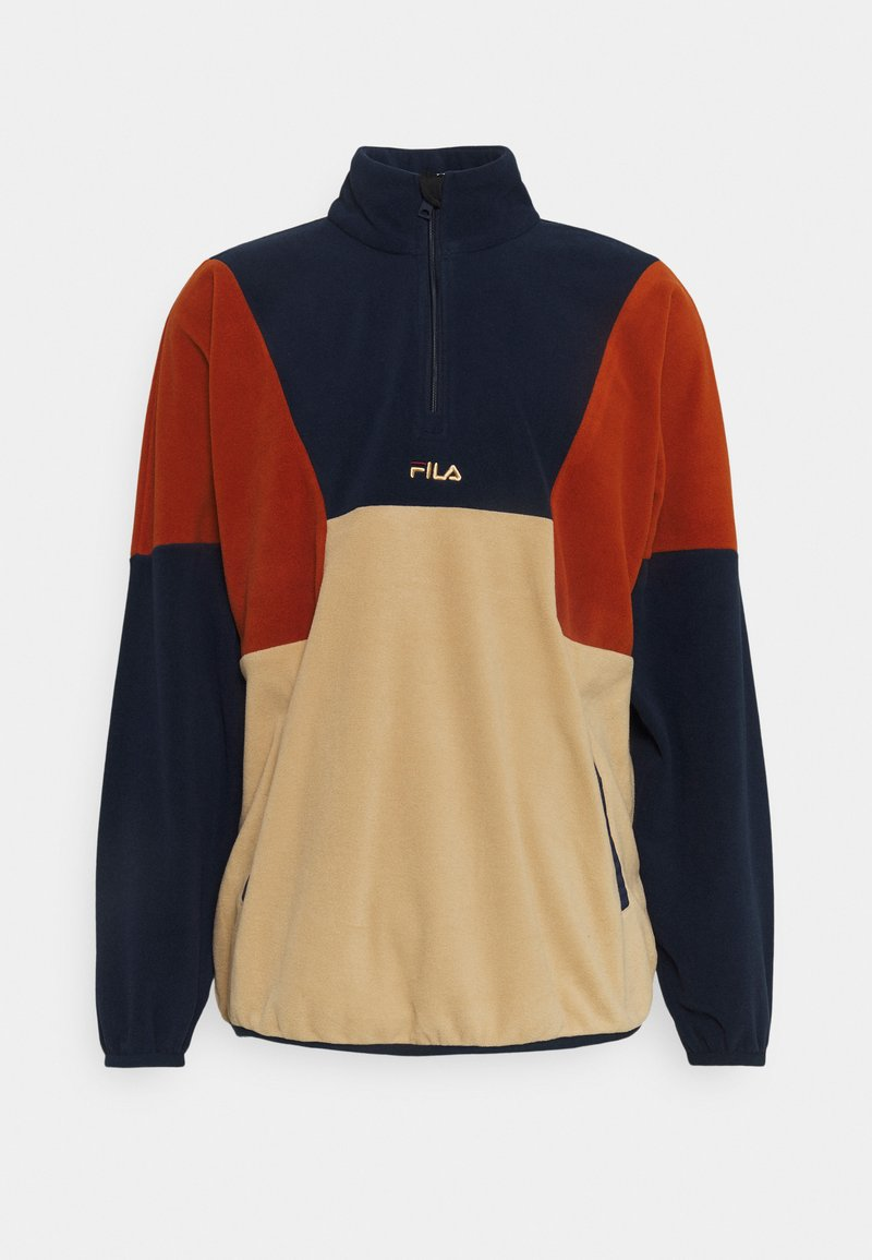 Fila - WAFA BLOCKED HALF ZIP - Bluza z polaru - irish cream/black iris/cinnamon stick