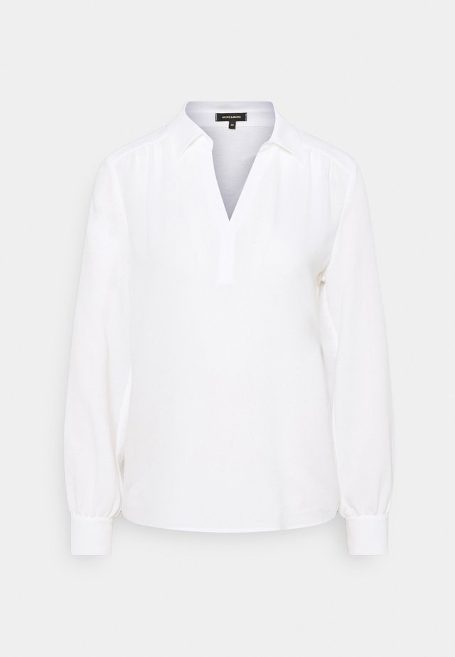 BLOUSE SHIRT WITH CREPE FRONT - Blouse - offwhite