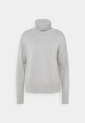 CROP OVERSIZED TNECK - Jumper - heather grey