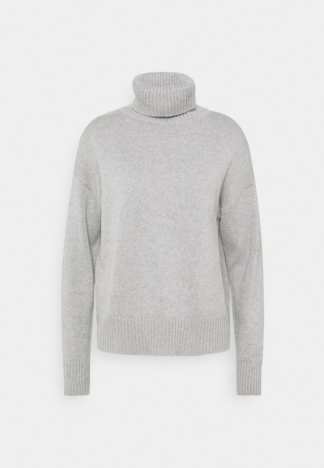 CROP OVERSIZED TNECK - Strickpullover - heather grey