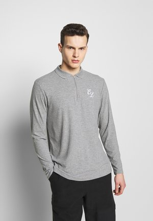 TONAL ZIP SLEEVED - Polo - grey