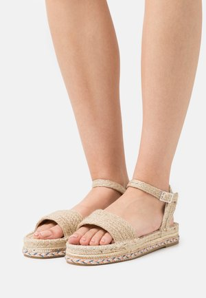 EMBROIDERED BASE - Platform sandals - natural
