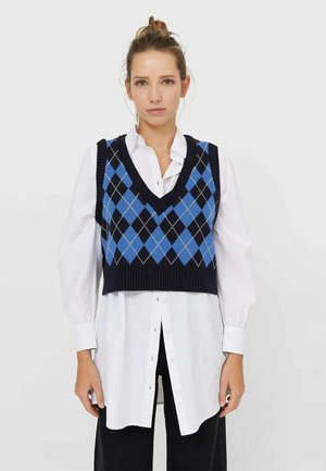 MIT RAUTENMUSTER  - Stickad tröja - dark blue