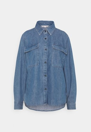 CHEST POCKET - Button-down blouse - clean mid stone blue denim