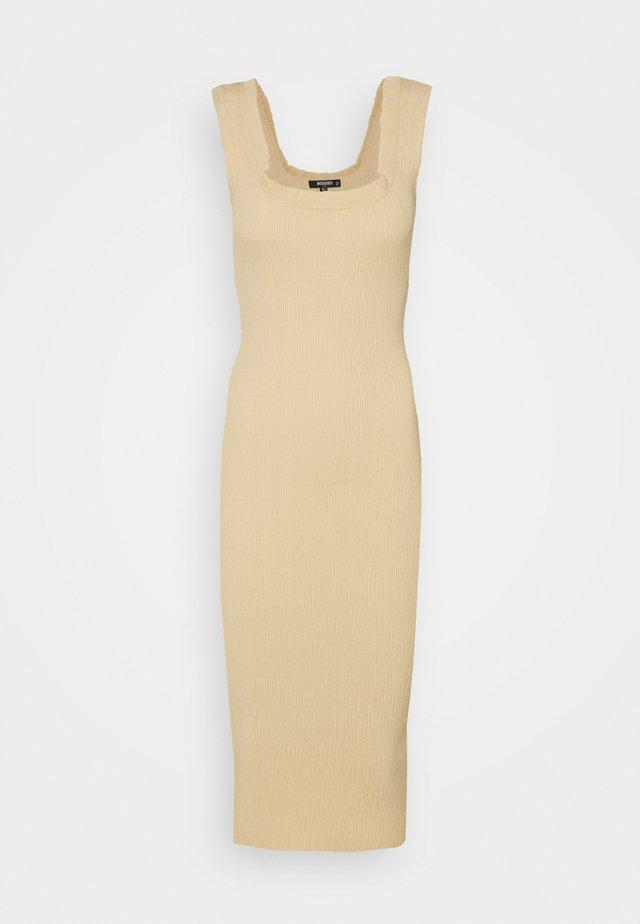 FRILL EDGE TEXTURED MIDI DRESS - Sukienka letnia - beige