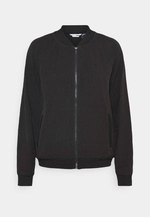 STRIPED LOGO ZIP UP BOMBER - Sportovní bunda - black