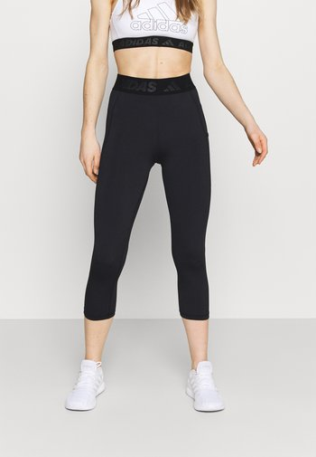 3 BAR TECHFIT AEROREADY TIGHT - 3/4 sportovní kalhoty - black/white