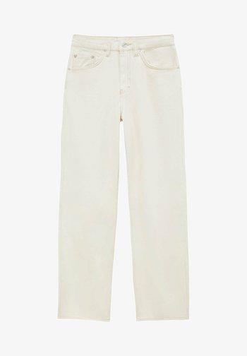 MIT HALBHOHEM BUND - Straight leg jeans - mottled beige