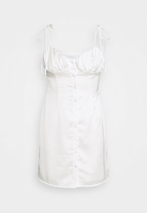 BUST DETAIL MINI DRESS WITH SHOULDER TIES - Vapaa-ajan mekko - white
