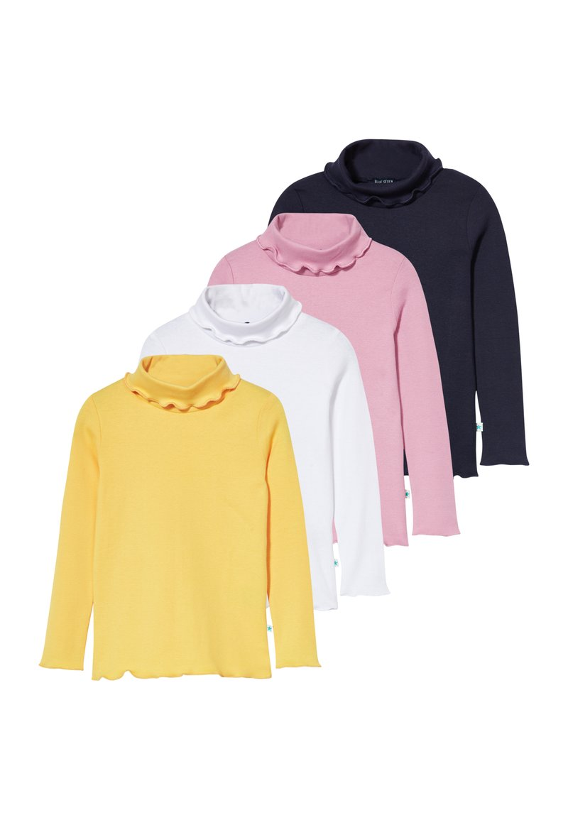 Blue Seven - KIDS ROLLNECK MULTI 4 PACK - Long sleeved top - weiß original/sun/mauve/nachtblau