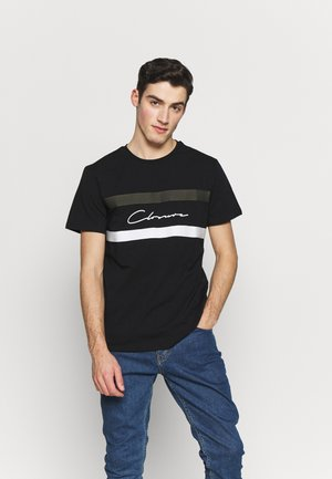 BAND STRIPE TEE - Print T-shirt - black