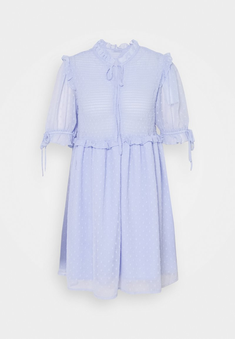 NA-KD - DOBBY SMOCKED MINI DRESS - Kjole - light blue