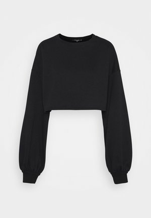 BALLOON SLEEVE OVERSIZED CROP - Sweatshirt - black