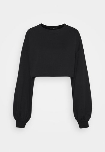BALLOON SLEEVE OVERSIZED CROP - Sweatshirt - black