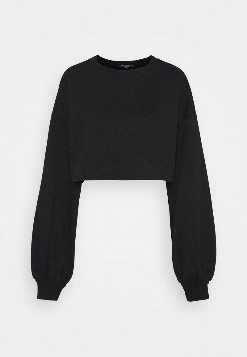 Missguided Petite - BALLOON SLEEVE OVERSIZED CROP - Sweatshirt - black
