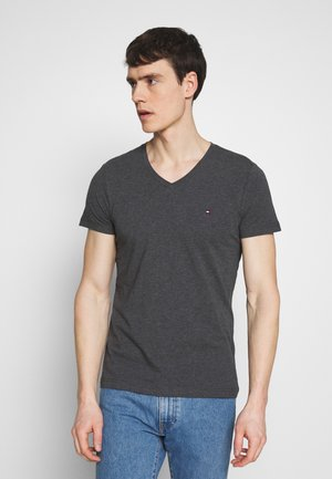 STRETCH SLIM FIT VNECK TEE - Basic T-shirt - grey
