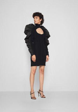 TURTLE NECK RUFFLE DRESS - Jumper dress - black