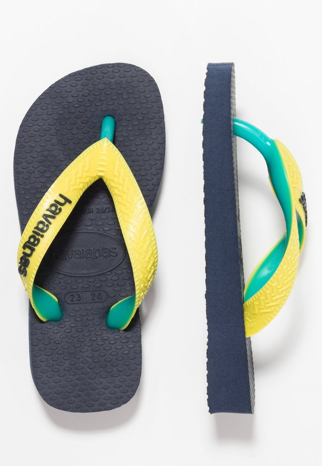 TOP MIX - Pool shoes - navy/neon yellow