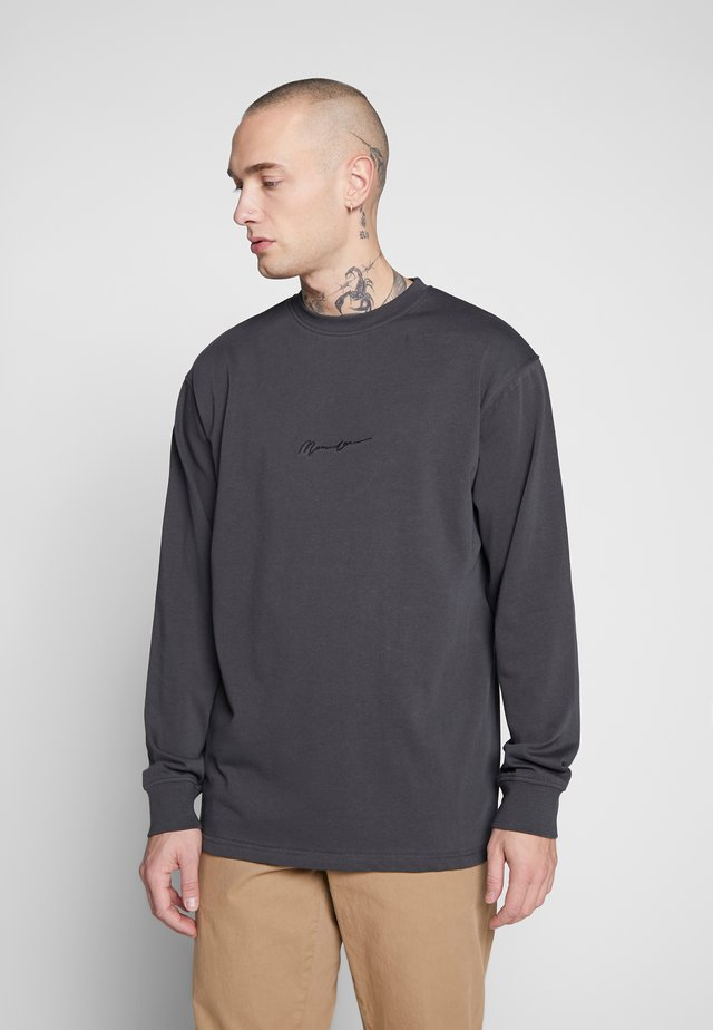 ESSENTIAL SIGNATURE TEE - Topper langermet - charcoal