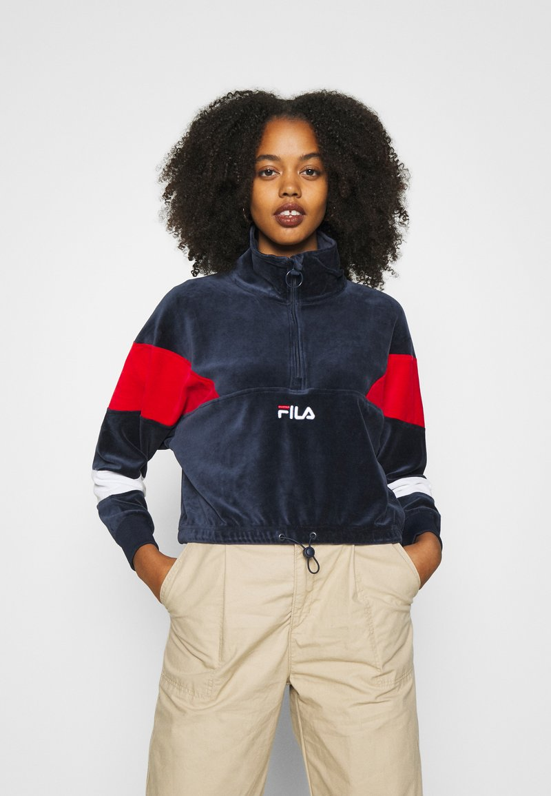 Fila - BELLINI CROPPED HALF ZIP - Sweatshirt - black iris/true red/bright white