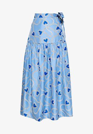 ANNI HEART SKIRT - Falda larga - sky blue