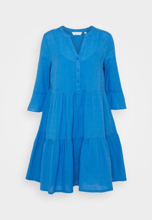 STRUCTURED BABYDOLL MINI DRESS - Day dress - mid blue