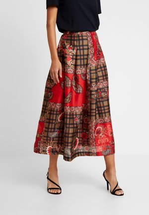 OBERO - A-line skirt - red