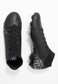Nike Performance - MERCURIAL 7 ACADEMY FG/MG - Moulded stud football boots - black/metallic cool grey/blue fury/cool grey - 1