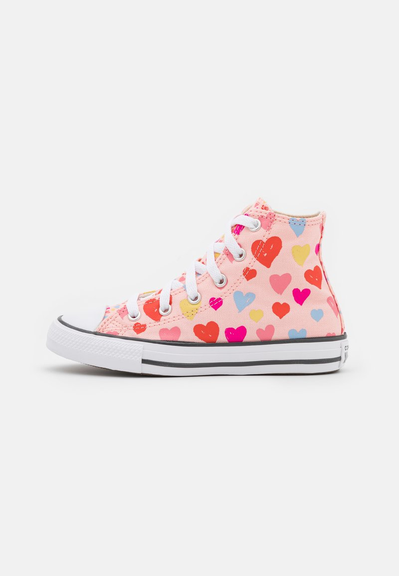 Converse - CHUCK TAYLOR ALL STAR HEARTS  - High-top trainers - storm pink/natural ivory/white