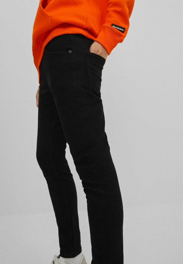 Bershka Jeansy Skinny Fit - black/czarny Odzież Męska EAEQ