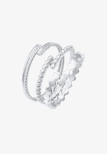 3 PACK TWISTED DESIGN - Anillo - silber