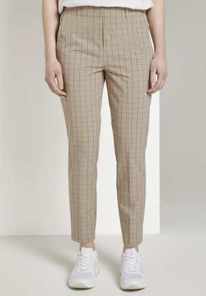 TOM TAILOR DENIM HOSEN & CHINO KARIERTE CHINOHOSE MIT ELASTISCHE - Chino - beige white grid