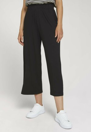 PAPERBAG CULOTTE WITH POCKETS - Trousers - deep black