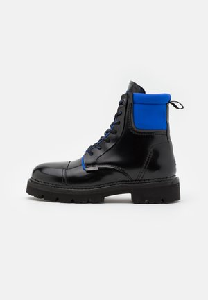 FASHION POP COLOUR BOOT - Lace-up ankle boots - black/providence blue