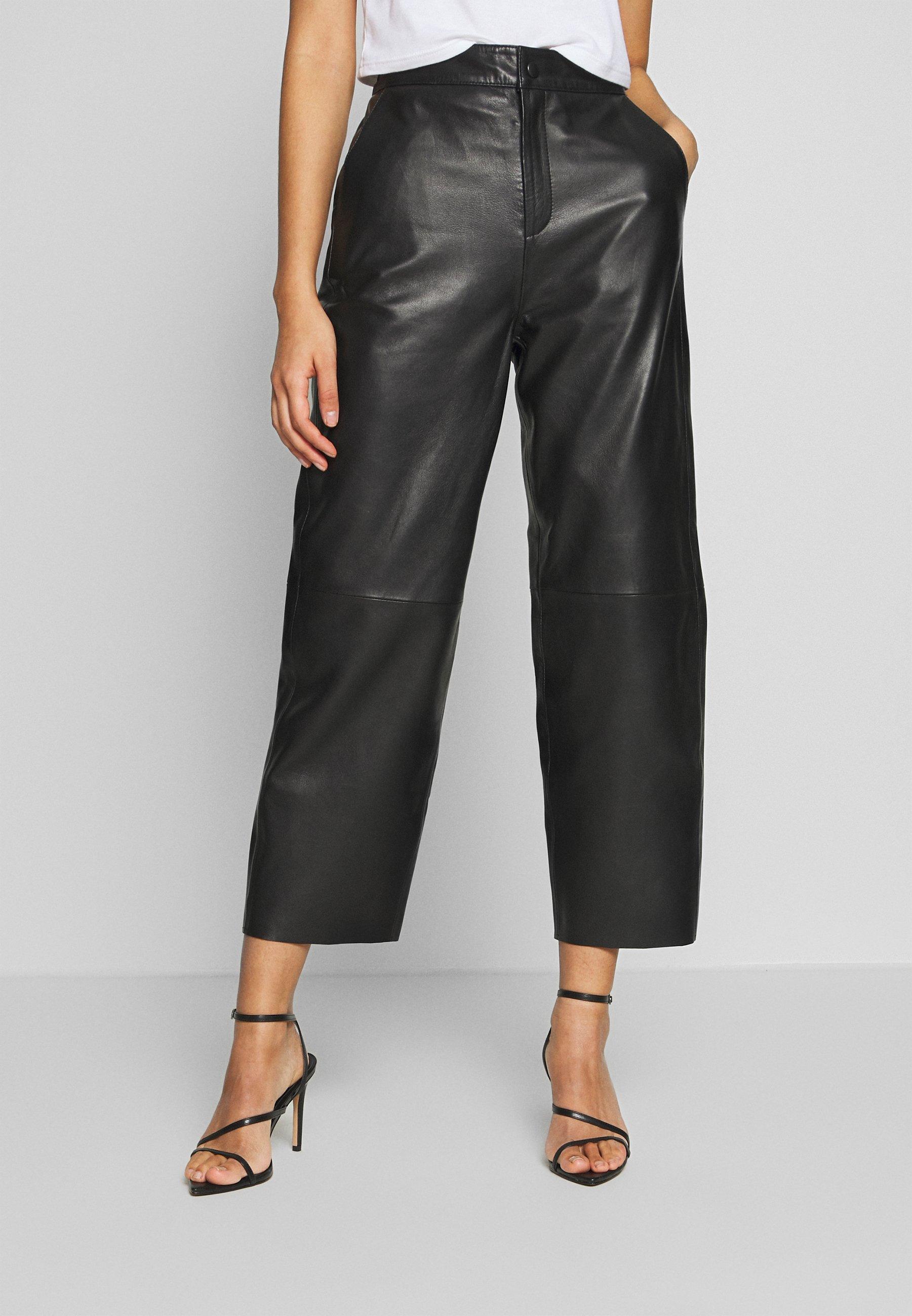 Women OBJVIOLA  - Leather trousers