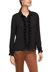 s.Oliver BLACK LABEL - MET GEPLOOIDE VOLANTS - Button-down blouse - black - 4