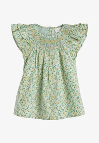 Next - GREEN 2 PIECE GOTS ORGANIC COTTON BLOUSE AND BLOOMER SET (0MTHS- - Denim shorts - green - 1